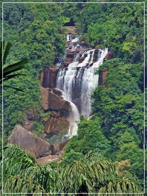 Olu Ella Falls from Dombepola Mountain